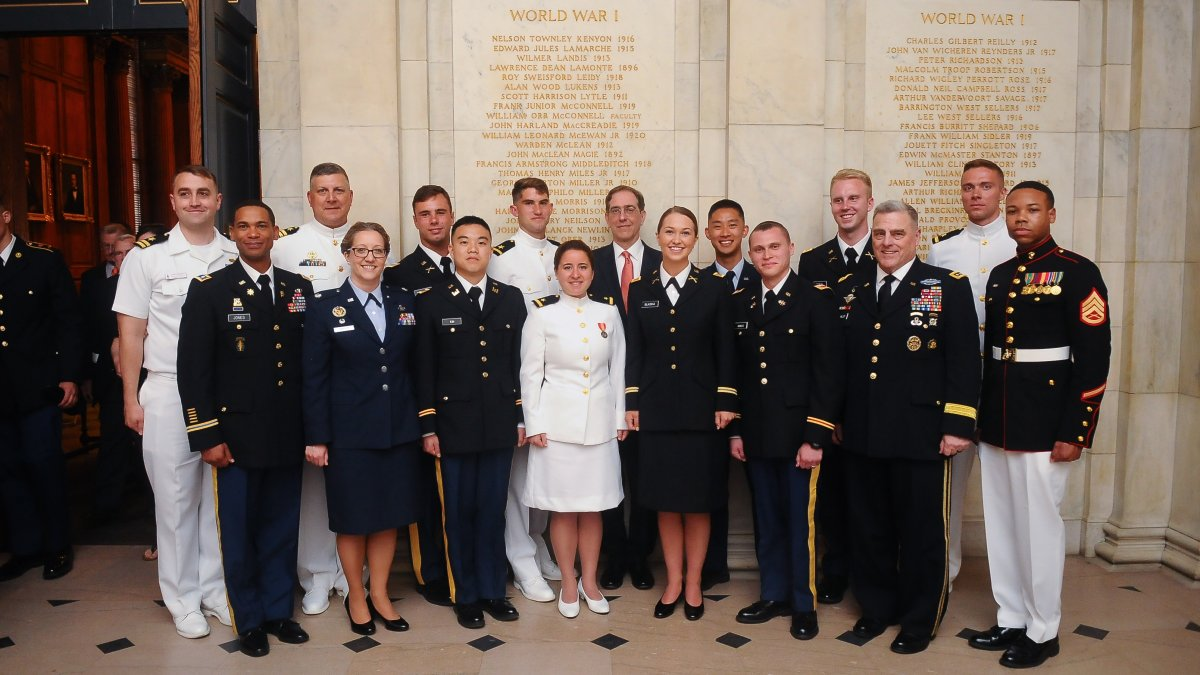 GEN Milley and Princeton ROTC Cadre and Officers after commissioning ceremony